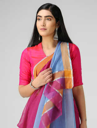 Pink-Blue Chanderi Saree with Zari