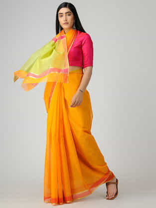 Orange-Lime Chanderi Saree with Zari