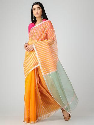 Orange-Green Chanderi Saree with Zari