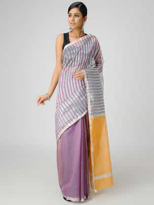Purple-Yellow Chanderi Saree with Zari