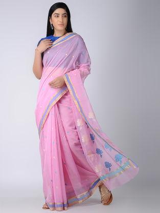 Pink-Blue Chanderi Saree with Zari Border