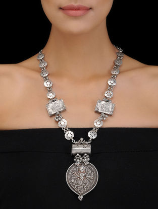 Silver Necklace with Deity Motif