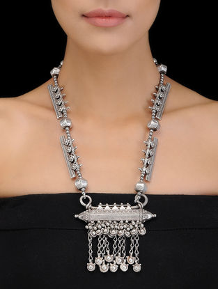 Silver Necklace with Taveez Design