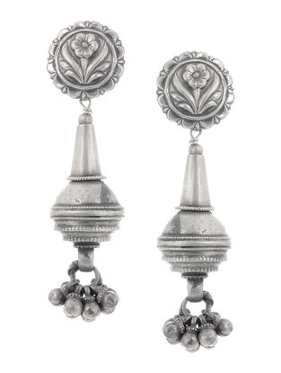 Silver Earrings with Floral Motif