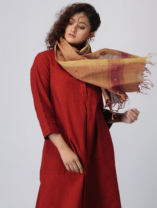 Madder-Yellow Natural-dyed Cotton Jamdani Stole