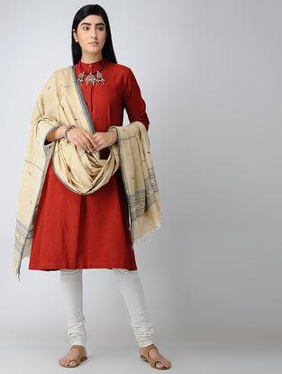 Ivory-Indigo Natural-dyed Cotton Jamdani Dupatta