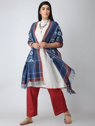 Indigo-Ivory Natural-dyed Double Ikat Cotton Jamdani Dupatta
