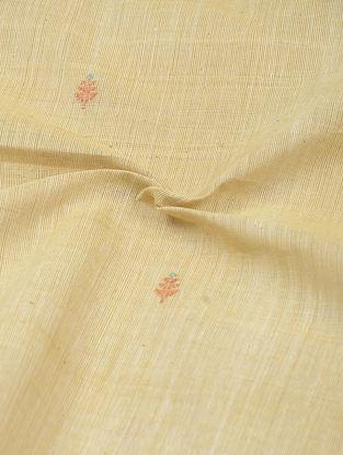Beige-Red Natural-dyed Khadi Cotton Jamdani Fabric