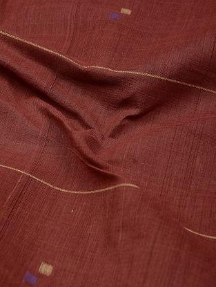 Red-Indigo Natural-dyed Khadi Cotton Jamdani Fabric