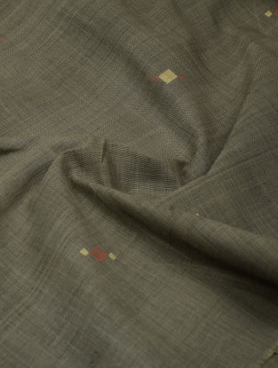 Brown-Red Natural-dyed Khadi Cotton Jamdani Fabric