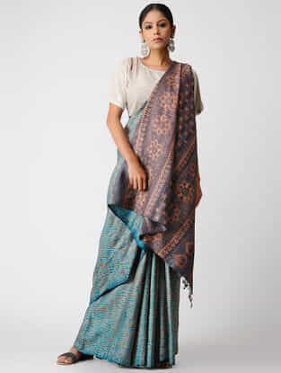 Blue-Peach Shibori Tussar Silk Saree with Ajrakh Palla