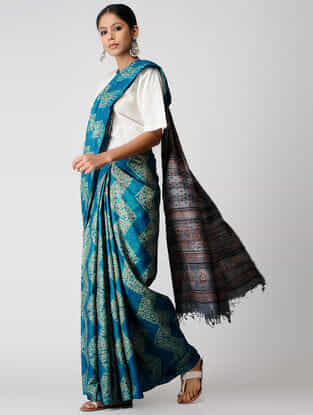 Blue-Grey Shibori Tussar Silk Saree with Ajrakh Palla