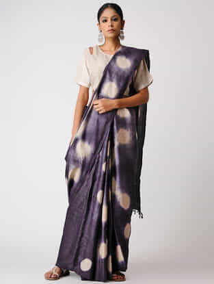 Blue-Ivory Clamp-dyed Tussar Silk Saree