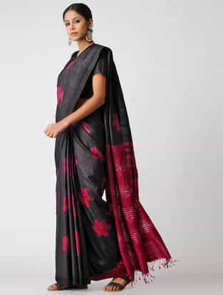 Black-Pink Clamp-dyed Tussar Silk Saree