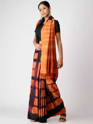 Orange-Black Clamp-dyed Tussar Silk Saree