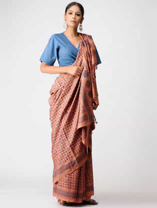 Orange-Blue Natural-dyed Ajrakh Tussar Silk Saree