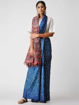 Blue-Pink Shibori Tussar Silk Saree with Ajrakh Palla