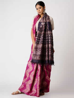 Pink-Black Shibori Tussar Silk Saree with Ajrakh Palla