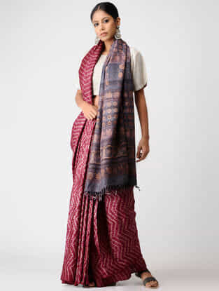 Maroon-Grey Shibori Tussar Silk Saree with Ajrakh Palla