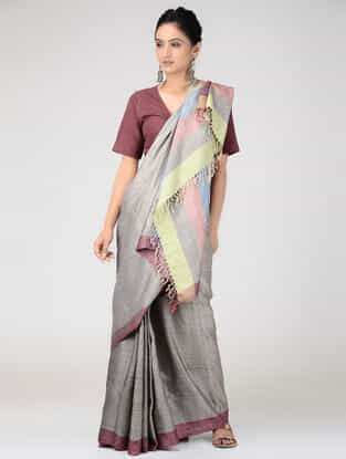 Grey-Pink Tussar Silk Saree