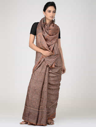 Brown Tussar Ajrakh-printed Tussar Silk Saree
