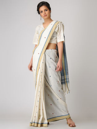 Ivory-Blue Khadi Cotton Jamdani Saree