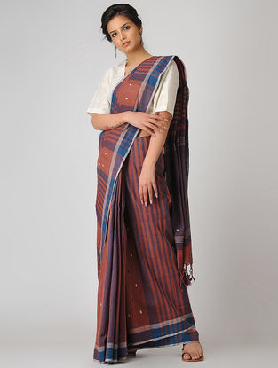 Rust-Blue Khadi Cotton Jamdani Saree