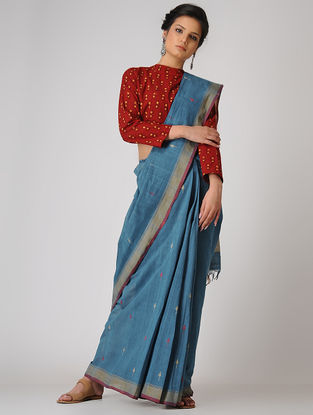 Blue-Beige Khadi Cotton Jamdani Saree