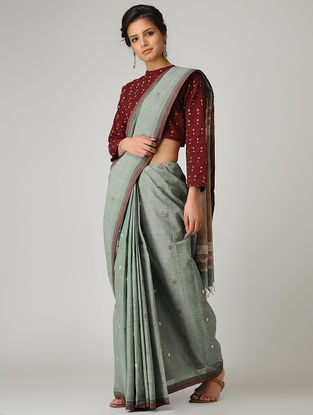 Grey-Beige Khadi Cotton Jamdani Saree