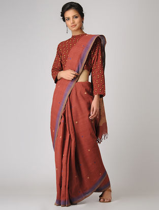 Red-Purple Khadi Cotton Jamdani Saree
