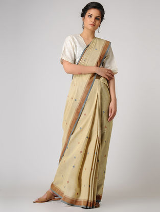 Beige-Blue Khadi Cotton Jamdani Saree