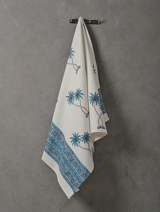 White-Blue Hand Block-printed Cotton Bath Towel