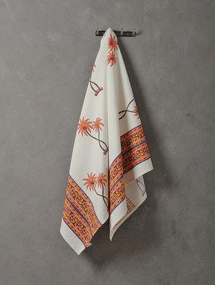 White-Orange Hand Block-printed Cotton Bath Towel