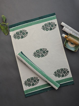 White-Green Hand Block-printed Cotton Hand Towel (Set of 2)