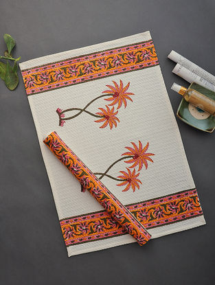 White-Orange Hand Block-printed Cotton Hand Towel (Set of 2)
