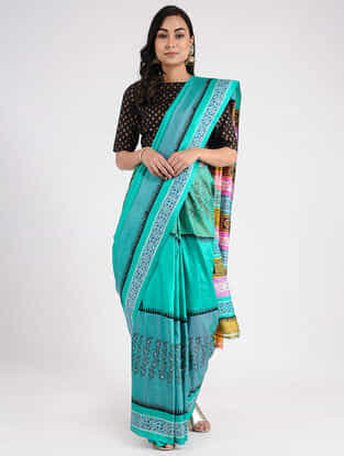 Blue-Pink Hand-painted Mulberry Silk Saree