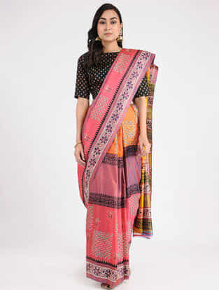 Pink-Yellow Hand-painted Mulberry Silk Saree