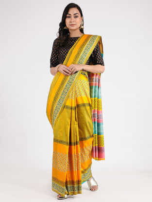Yellow-Blue Hand-painted Mulberry Silk Saree