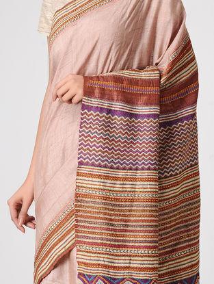 Peach-Brown Block-printed and Tanka-embroidered Tussar Silk Saree