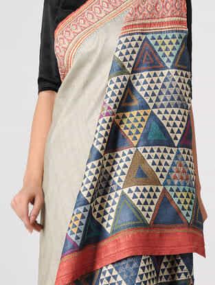 Ivory-Blue Block-printed and Tanka-embroidered Tussar Silk Saree