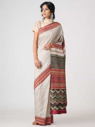 Ivory-Red Block-printed and Tanka-embroidered Tussar Silk Saree
