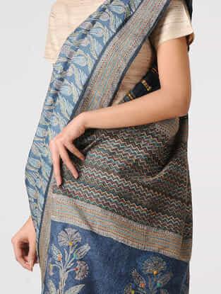 Blue-Green Block-printed and Tanka-embroidered Tussar Silk Saree