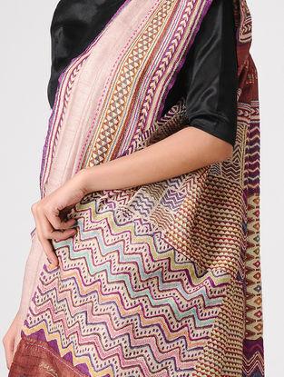 Pink-Purple Block-printed and Tanka-embroidered Tussar Silk Saree