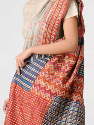 Grey-Red Block-printed and Tanka-embroidered Tussar Silk Saree
