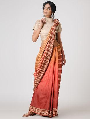 Orange-Pink Block-printed and Tanka-embroidered Tussar Silk Saree