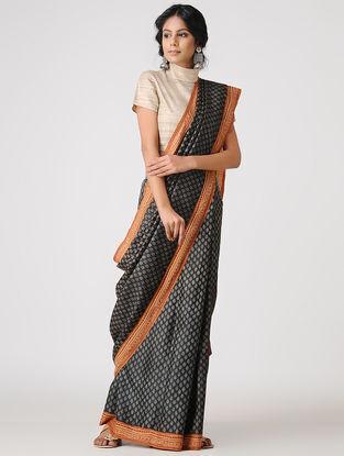 Black-Orange Block-printed and Tanka-embroidered Tussar Silk Saree