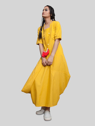 Yellow Cotton Jumpsuit with Necklace (Set of 2)