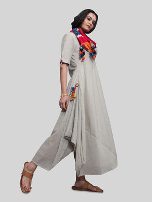 Grey Cotton Cowl Dress with Ikat Dupatta (Set of 2)