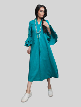Turquoise Pleated Cambric Dress with Necklace (Set of 2)
