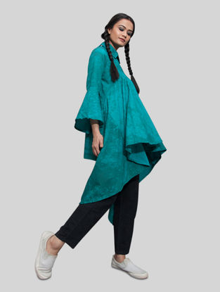 Turquoise Cotton Top with Asymmetrical Hem